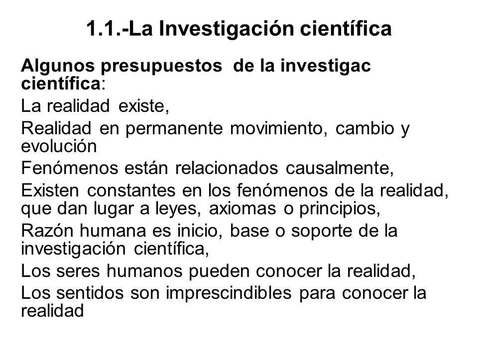 1.1.-La Investigación científica Algunos presupuestos de la investigac científica: La realidad existe, Realidad en permanente movimiento, cambio y evo