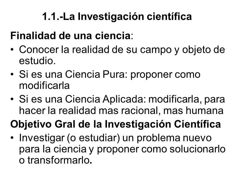 1.1.-La Investigación científica Finalidad de una ciencia: Conocer la realidad de su campo y objeto de estudio. Si es una Ciencia Pura: proponer como
