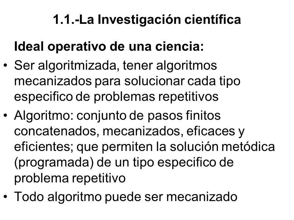 1.1.-La Investigación científica Ideal operativo de una ciencia: Ser algoritmizada, tener algoritmos mecanizados para solucionar cada tipo especifico