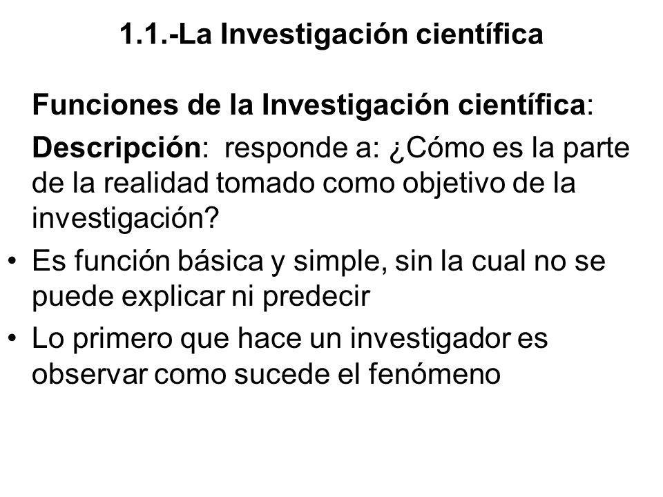1.1.-La Investigación científica Funciones de la Investigación científica: Descripción: responde a: ¿Cómo es la parte de la realidad tomado como objet