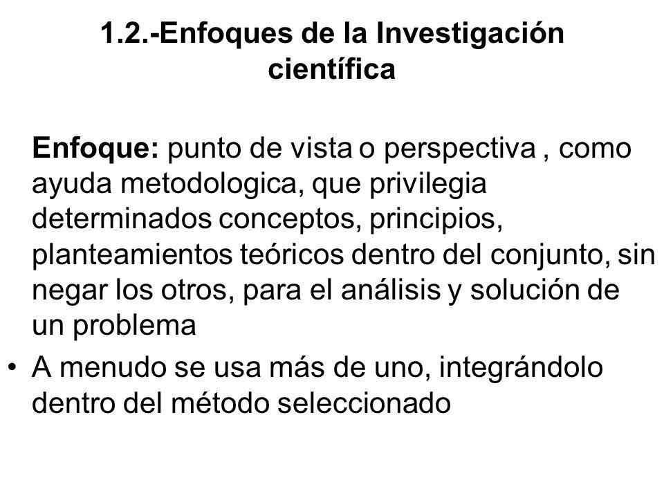 1.2.-Enfoques de la Investigación científica Enfoque: punto de vista o perspectiva, como ayuda metodologica, que privilegia determinados conceptos, pr