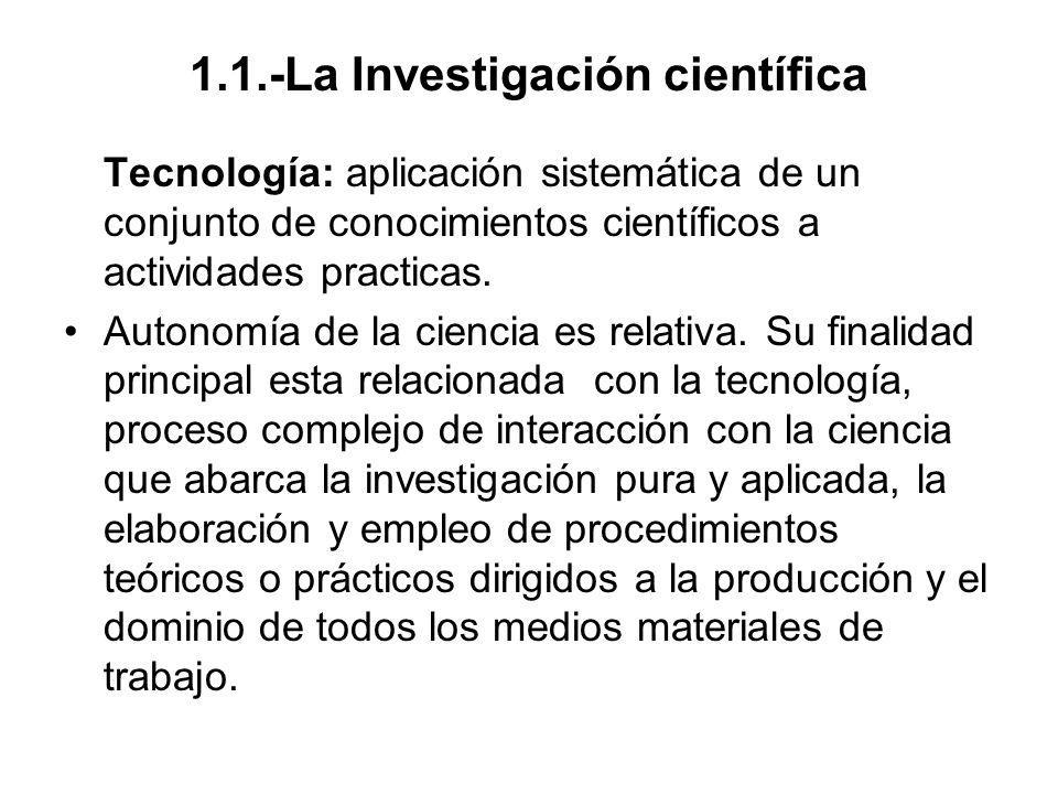 1.1.-La Investigación científica Técnica: conjunto de procedimientos y recursos de que se vale la ciencia para conseguir su fin.