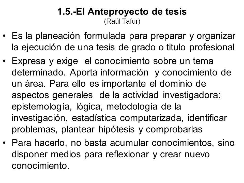 1.5.-El Anteproyecto de tesis (Raúl Tafur) Es la planeación formulada para preparar y organizar la ejecución de una tesis de grado o titulo profesiona