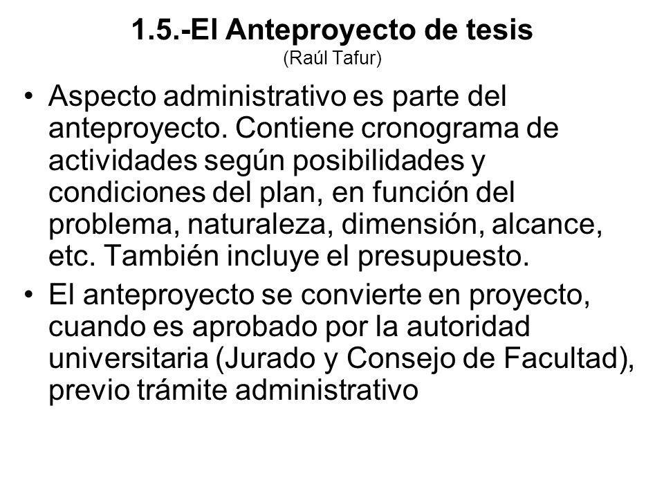 Aspecto administrativo es parte del anteproyecto. Contiene cronograma de actividades según posibilidades y condiciones del plan, en función del proble