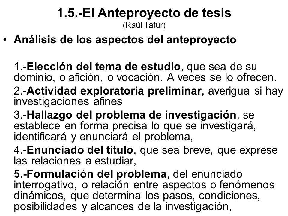Análisis de los aspectos del anteproyecto 1.-Elección del tema de estudio, que sea de su dominio, o afición, o vocación. A veces se lo ofrecen. 2.-Act