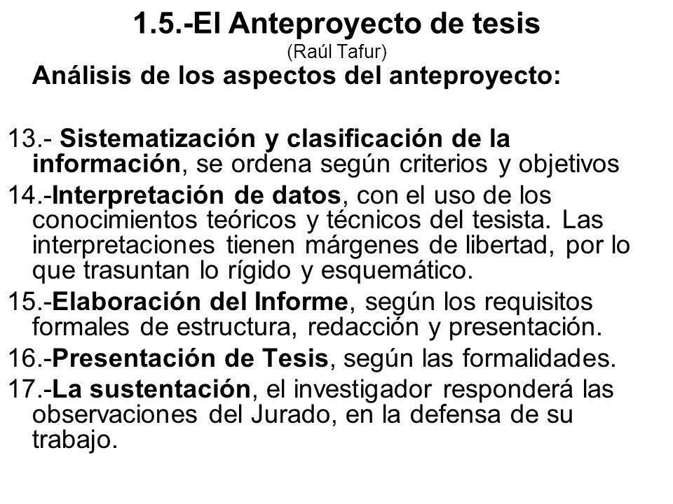 Análisis de los aspectos del anteproyecto: 13.- Sistematización y clasificación de la información, se ordena según criterios y objetivos 14.-Interpret