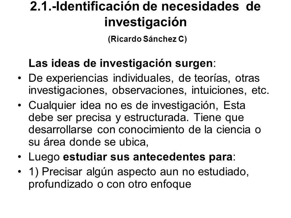 2.1.-Identificación de necesidades de investigación (Ricardo Sánchez C) Las ideas de investigación surgen: De experiencias individuales, de teorías, o