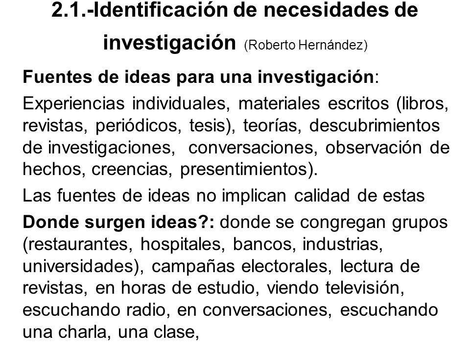 Fuentes de ideas para una investigación: Experiencias individuales, materiales escritos (libros, revistas, periódicos, tesis), teorías, descubrimiento