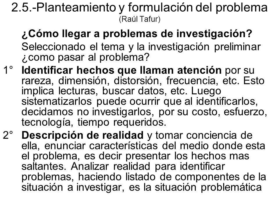 2.5.-Planteamiento y formulación del problema (Raúl Tafur) ¿Cómo llegar a problemas de investigación? Seleccionado el tema y la investigación prelimin