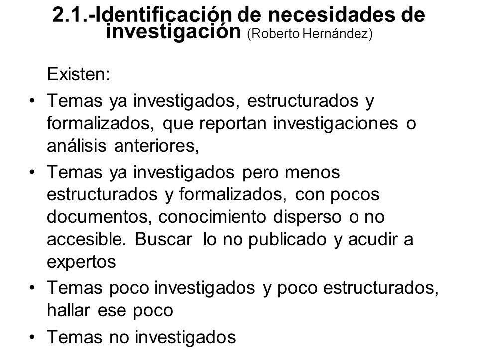 Existen: Temas ya investigados, estructurados y formalizados, que reportan investigaciones o análisis anteriores, Temas ya investigados pero menos est