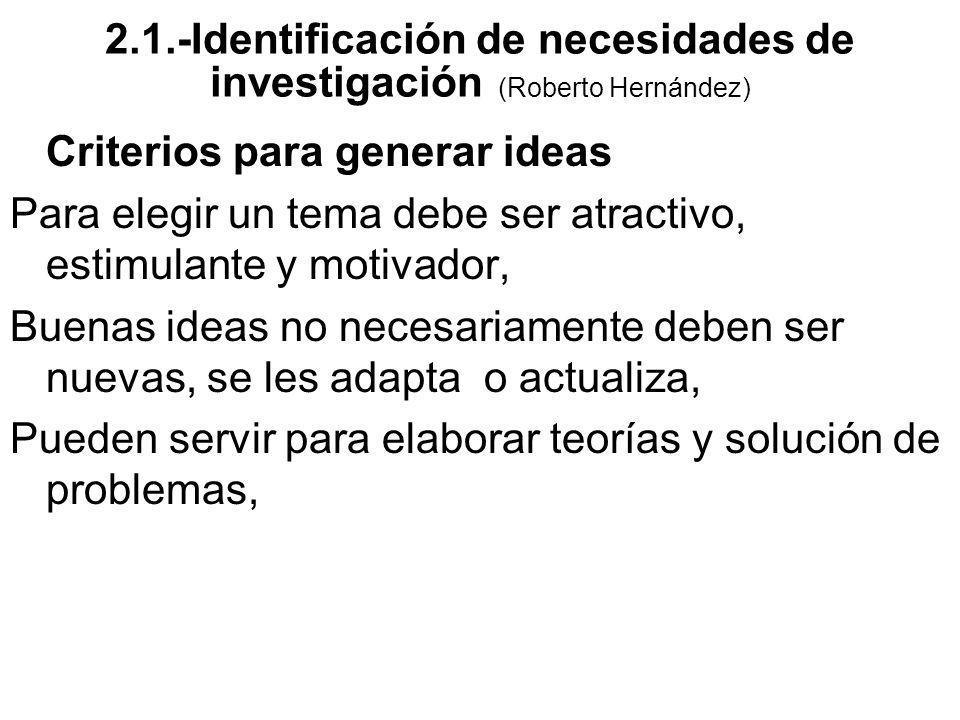 Criterios para generar ideas Para elegir un tema debe ser atractivo, estimulante y motivador, Buenas ideas no necesariamente deben ser nuevas, se les