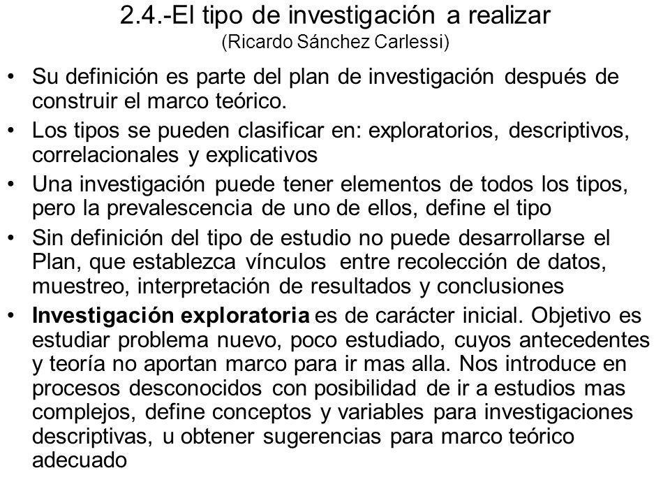 2.4.-El tipo de investigación a realizar (Ricardo Sánchez Carlessi) Su definición es parte del plan de investigación después de construir el marco teó