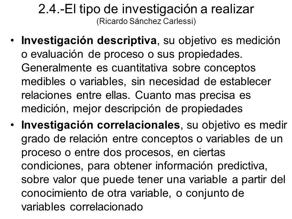 Investigación descriptiva, su objetivo es medición o evaluación de proceso o sus propiedades. Generalmente es cuantitativa sobre conceptos medibles o