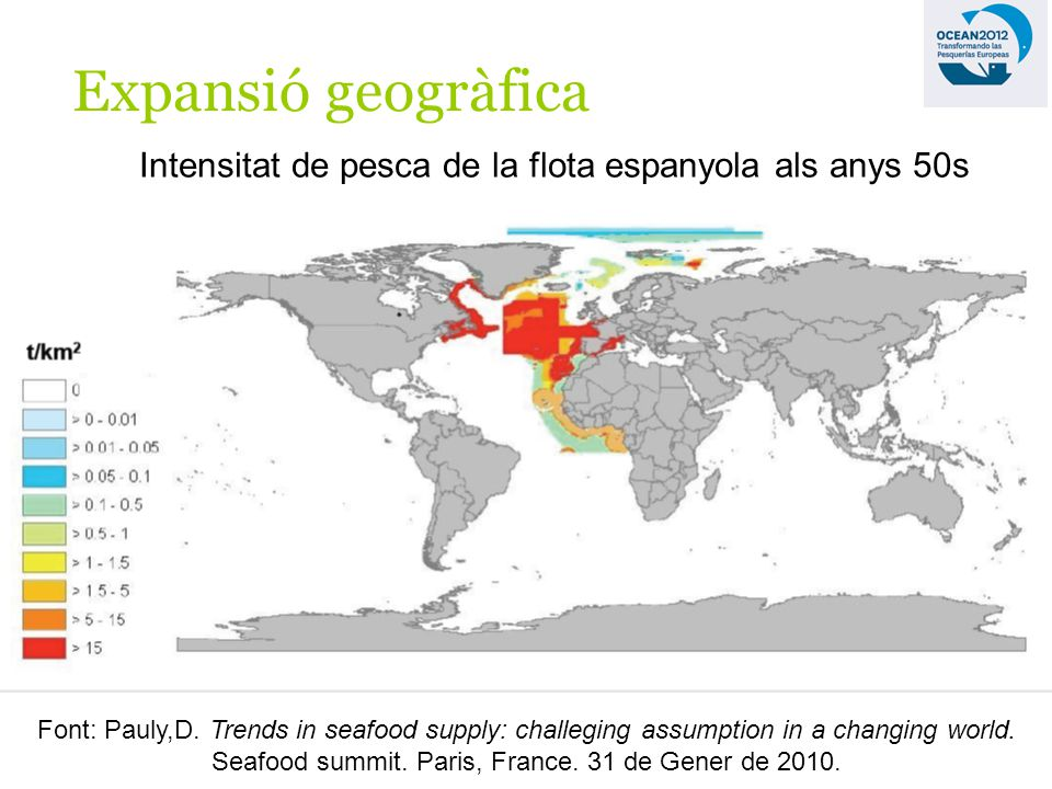 Expansió geogràfica Intensitat de pesca de la flota espanyola als anys 50s Font: Pauly,D.