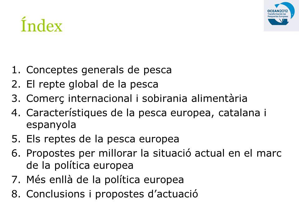 1.Conceptes generals de pesca 2.El repte global de la pesca 3.Comerç internacional i sobirania alimentària 4.Característiques de la pesca europea, catalana i espanyola 5.Els reptes de la pesca europea 6.Propostes per millorar la situació actual en el marc de la política europea 7.Més enllà de la política europea 8.Conclusions i propostes dactuació Índex