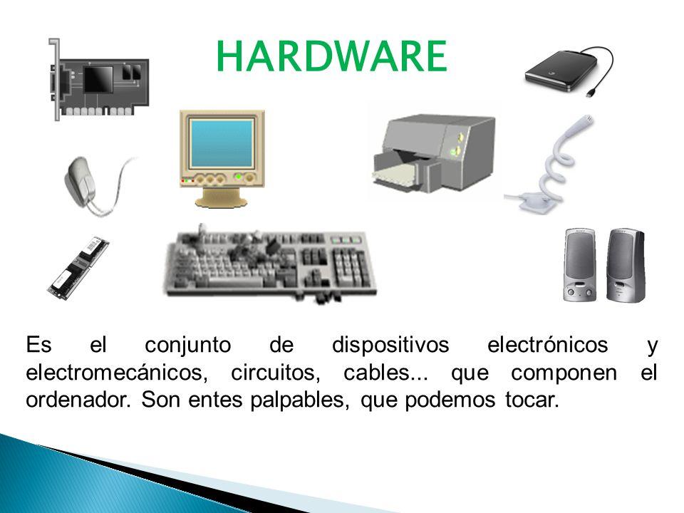 HARDWARE Es el conjunto de dispositivos electrónicos y electromecánicos, circuitos, cables...