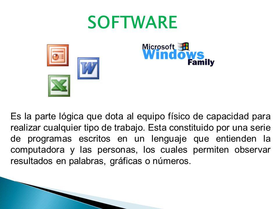SOFTWARE Es la parte lógica que dota al equipo físico de capacidad para realizar cualquier tipo de trabajo.