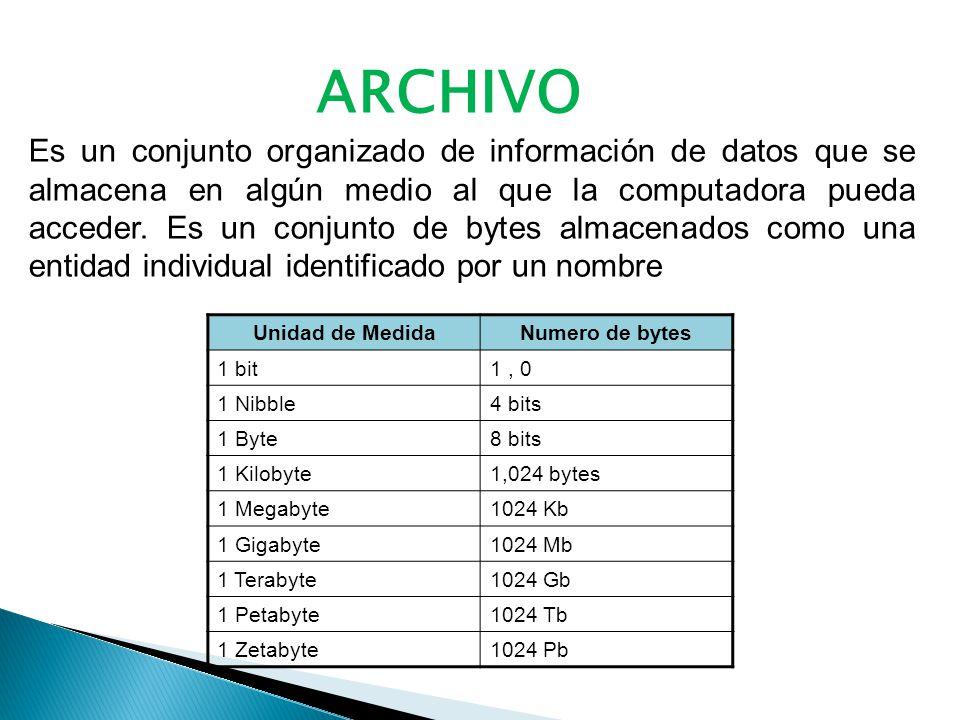 ARCHIVO Es un conjunto organizado de información de datos que se almacena en algún medio al que la computadora pueda acceder.