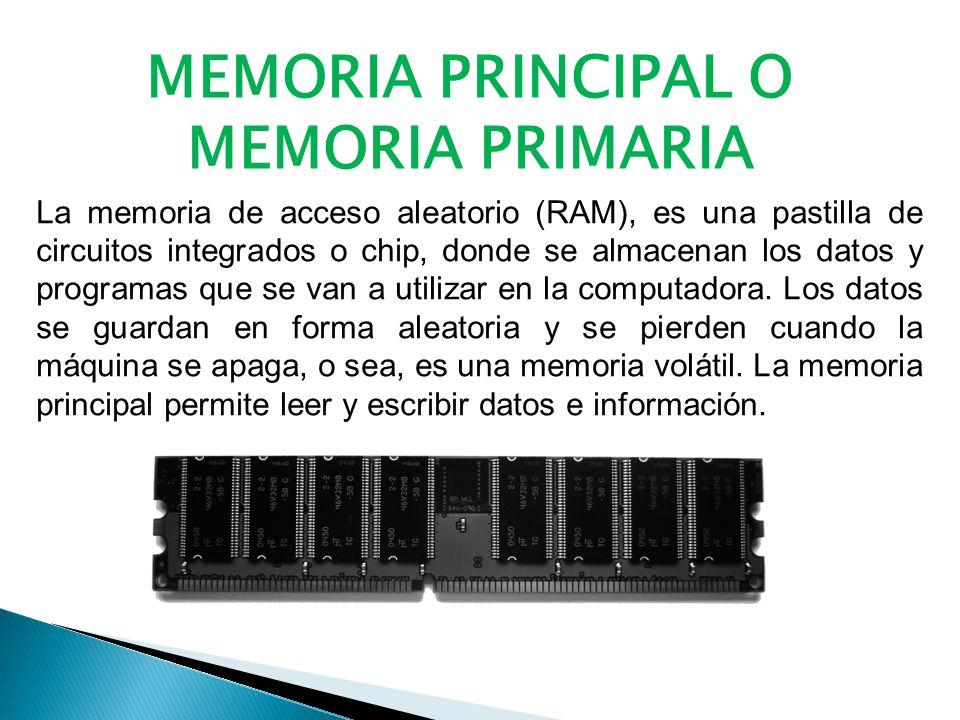 La memoria de acceso aleatorio (RAM), es una pastilla de circuitos integrados o chip, donde se almacenan los datos y programas que se van a utilizar en la computadora.