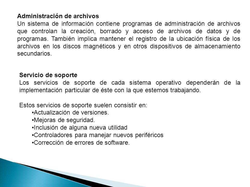 Administración de archivos Un sistema de información contiene programas de administración de archivos que controlan la creación, borrado y acceso de archivos de datos y de programas.