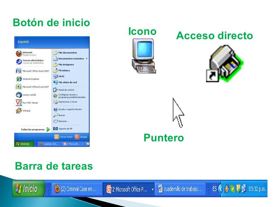 Botón de inicio Barra de tareas Icono Acceso directo Puntero