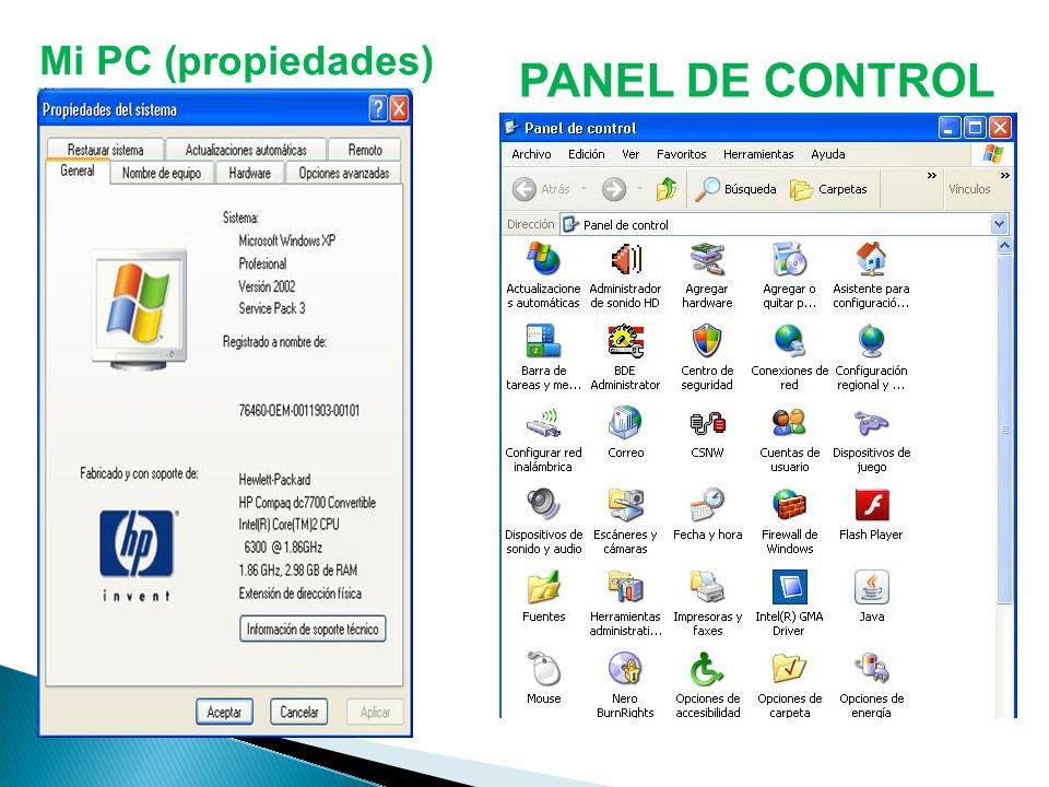 PANEL DE CONTROL Mi PC (propiedades)