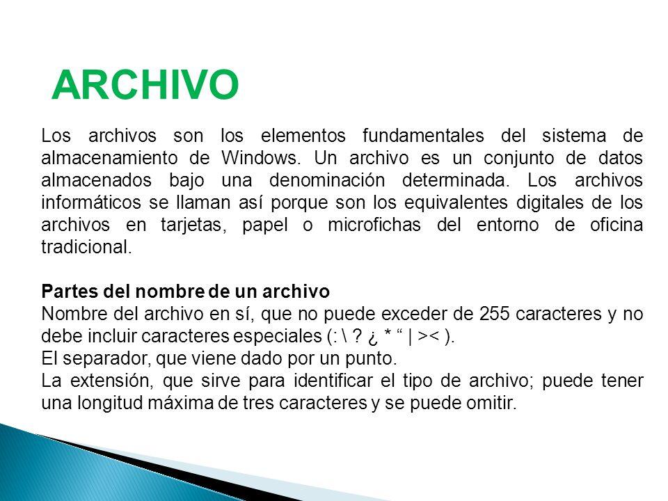 Los archivos son los elementos fundamentales del sistema de almacenamiento de Windows.