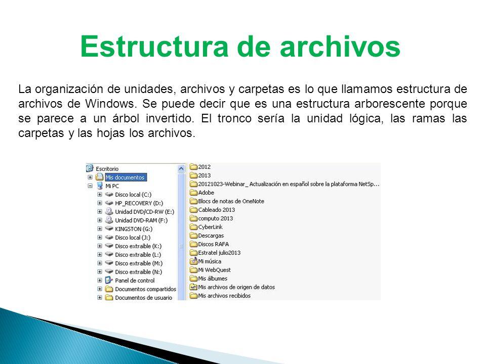 La organización de unidades, archivos y carpetas es lo que llamamos estructura de archivos de Windows.