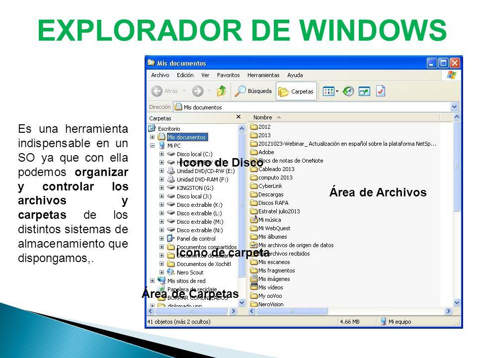EXPLORADOR DE WINDOWS Es una herramienta indispensable en un SO ya que con ella podemos organizar y controlar los archivos y carpetas de los distintos sistemas de almacenamiento que dispongamos,.
