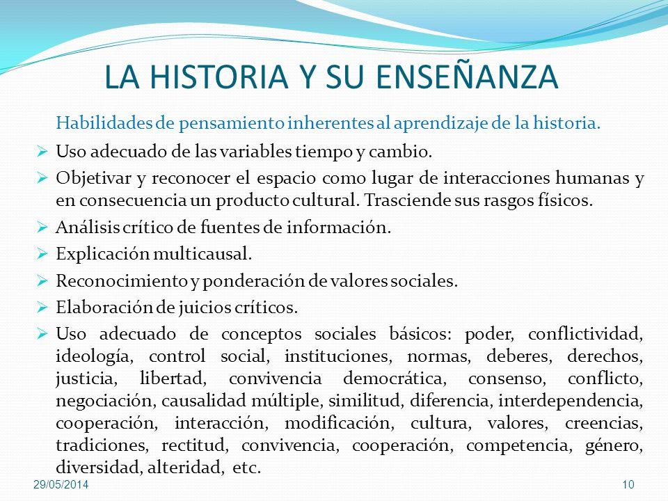 LA HISTORIA Y SU ENSEÑANZA Habilidades de pensamiento inherentes al aprendizaje de la historia. Uso adecuado de las variables tiempo y cambio. Objetiv