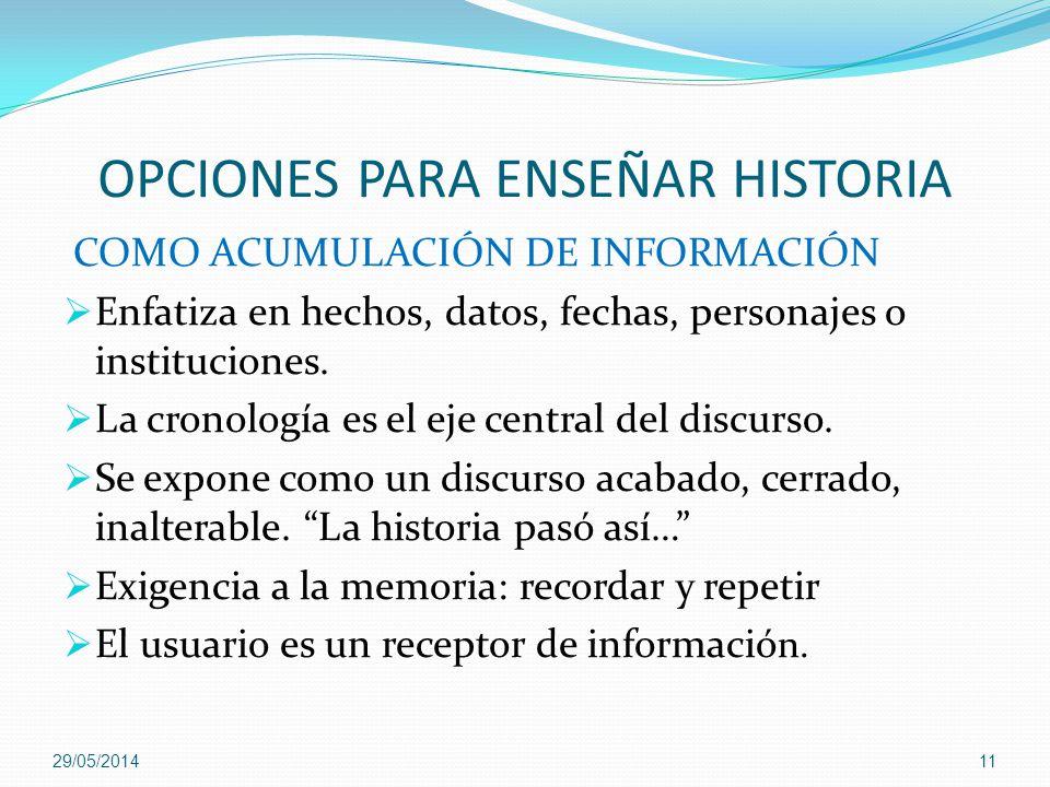 OPCIONES PARA ENSEÑAR HISTORIA COMO ACUMULACIÓN DE INFORMACIÓN Enfatiza en hechos, datos, fechas, personajes o instituciones. La cronología es el eje
