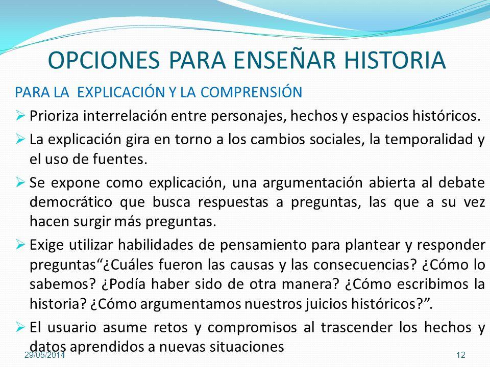 OPCIONES PARA ENSEÑAR HISTORIA PARA LA EXPLICACIÓN Y LA COMPRENSIÓN Prioriza interrelación entre personajes, hechos y espacios históricos. La explicac