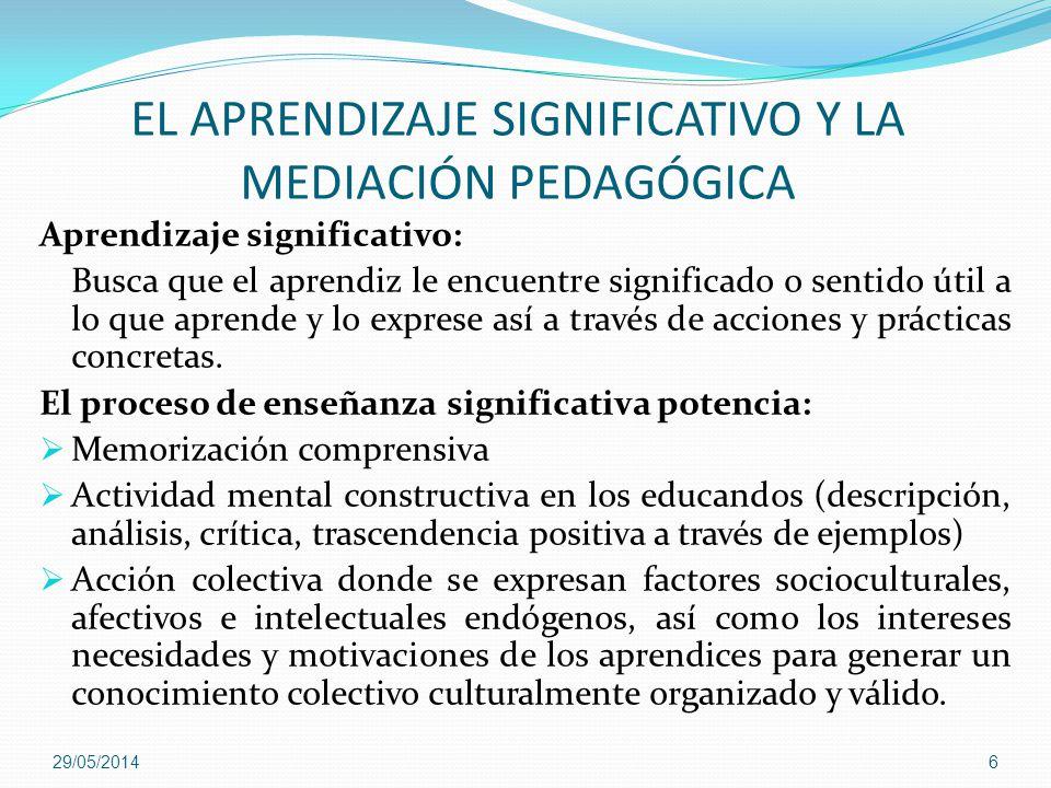 EL APRENDIZAJE SIGNIFICATIVO Y LA MEDIACIÓN PEDAGÓGICA Aprendizaje significativo: Busca que el aprendiz le encuentre significado o sentido útil a lo q