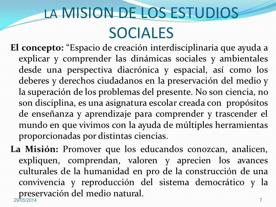LA MISION DE LOS ESTUDIOS SOCIALES El concepto: Espacio de creación interdisciplinaria que ayuda a explicar y comprender las dinámicas sociales y ambi