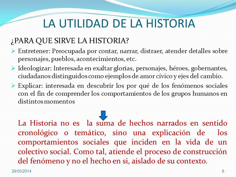 LA UTILIDAD DE LA HISTORIA ¿PARA QUE SIRVE LA HISTORIA? Entretener: Preocupada por contar, narrar, distraer, atender detalles sobre personajes, pueblo