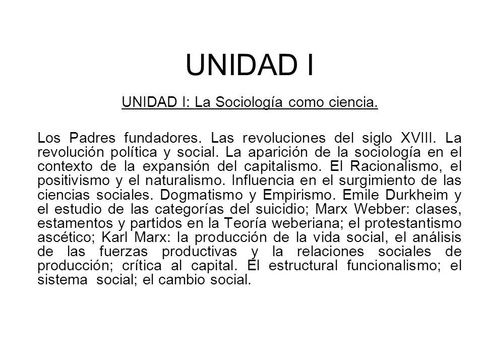 UNIDAD I UNIDAD I: La Sociología como ciencia. Los Padres fundadores. Las revoluciones del siglo XVIII. La revolución política y social. La aparición
