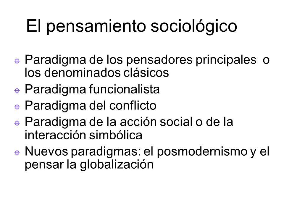 El pensamiento sociológico Paradigma de los pensadores principales o los denominados clásicos Paradigma funcionalista Paradigma del conflicto Paradigm
