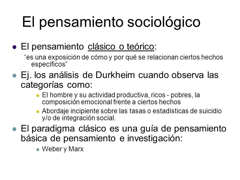 El pensamiento sociológico El pensamiento clásico o teórico: es una exposición de cómo y por qué se relacionan ciertos hechos específicos Ej. los anál