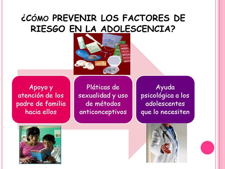 ¿C ÓMO PREVENIR LOS FACTORES DE RIESGO EN LA ADOLESCENCIA? Apoyo y atención de los padre de familia hacia ellos Pláticas de sexualidad y uso de método