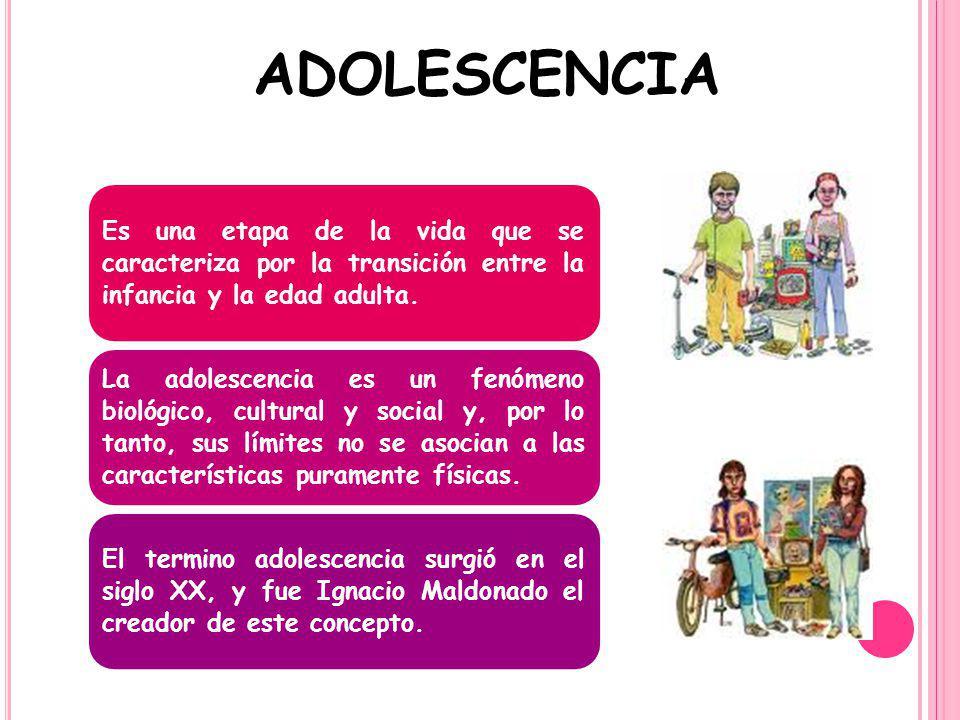 ADOLESCENCIA Es una etapa de la vida que se caracteriza por la transición entre la infancia y la edad adulta. La adolescencia es un fenómeno biológico
