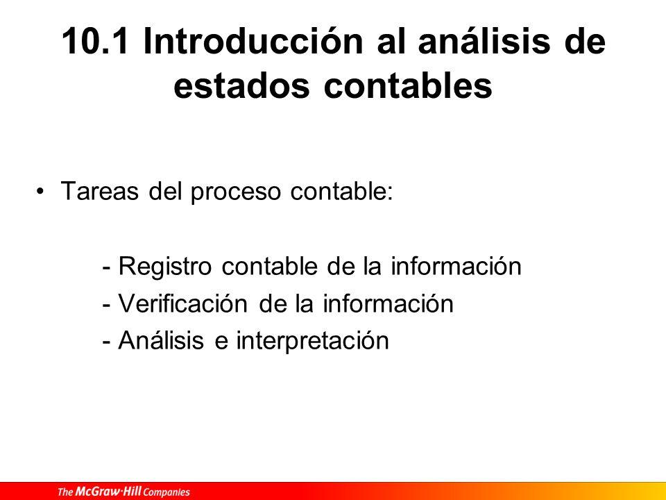 10.1 Introducción al análisis de estados contables Tareas del proceso contable: - Registro contable de la información - Verificación de la información