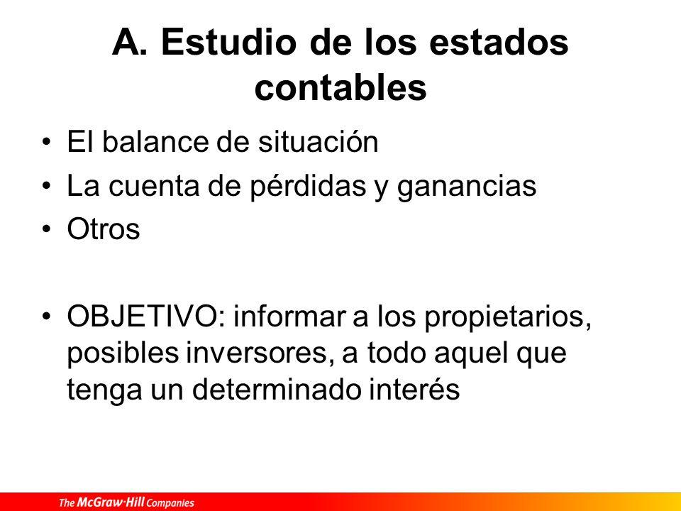 A. Estudio de los estados contables El balance de situación La cuenta de pérdidas y ganancias Otros OBJETIVO: informar a los propietarios, posibles in