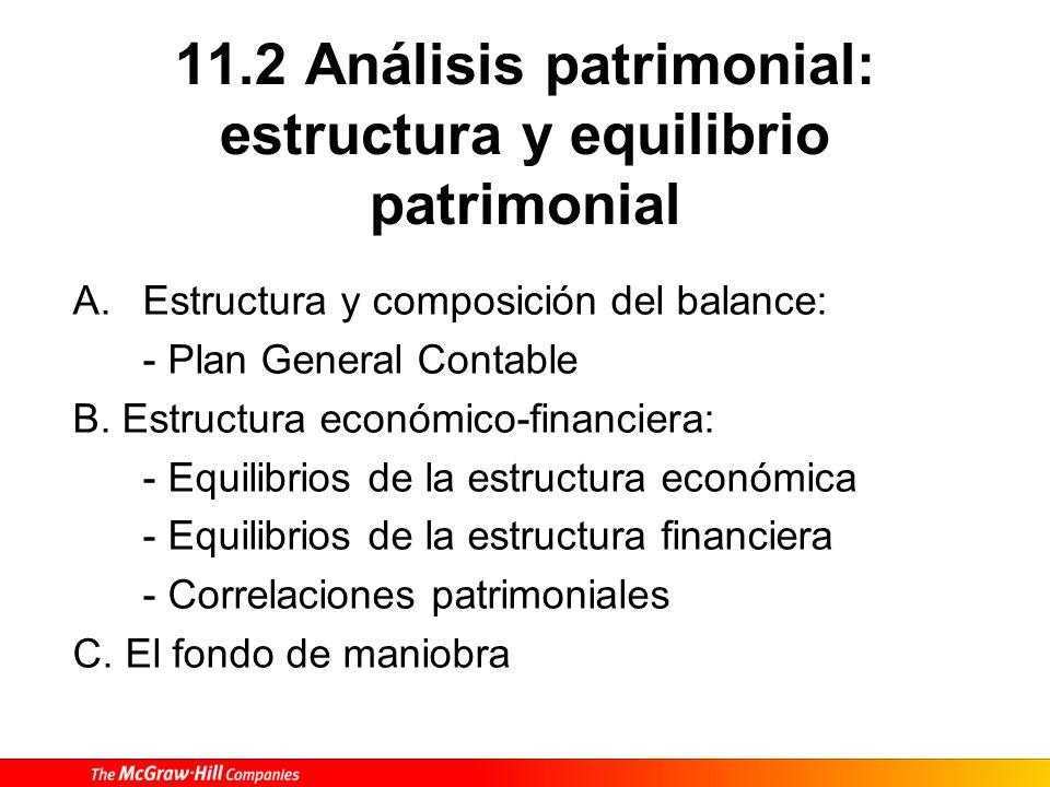 11.2 Análisis patrimonial: estructura y equilibrio patrimonial A.Estructura y composición del balance: - Plan General Contable B. Estructura económico
