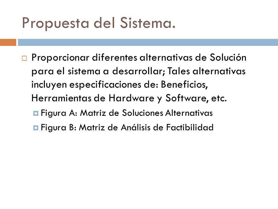 Propuesta del Sistema. Proporcionar diferentes alternativas de Solución para el sistema a desarrollar; Tales alternativas incluyen especificaciones de