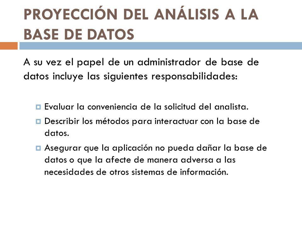 PROYECCIÓN DEL ANÁLISIS A LA BASE DE DATOS A su vez el papel de un administrador de base de datos incluye las siguientes responsabilidades: Evaluar la conveniencia de la solicitud del analista.