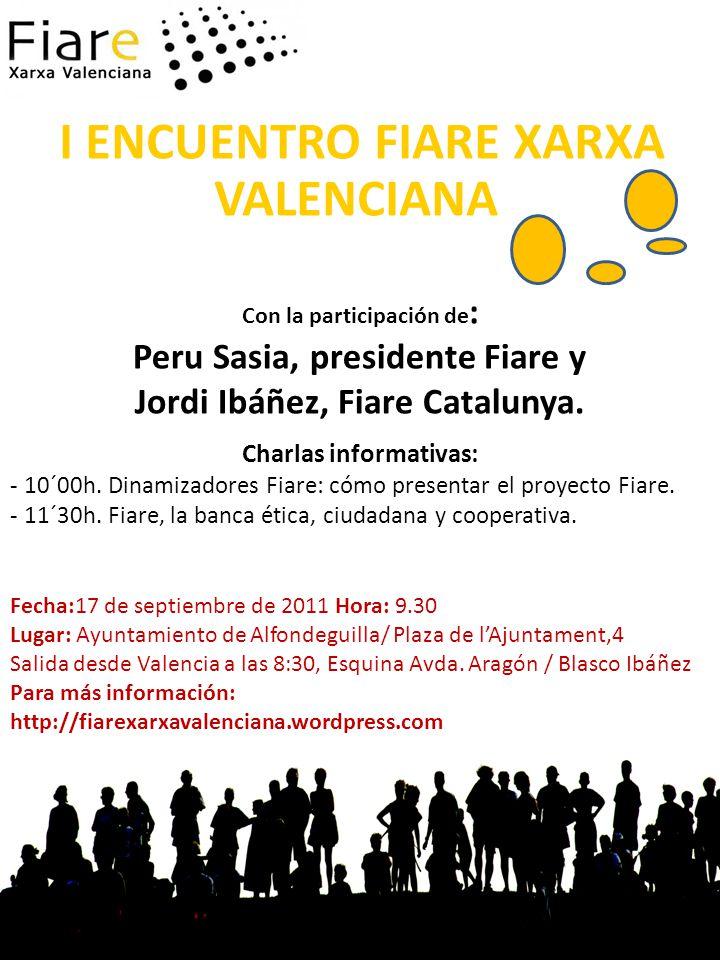 I ENCUENTRO FIARE XARXA VALENCIANA Con la participación de : Peru Sasia, presidente Fiare y Jordi Ibáñez, Fiare Catalunya.