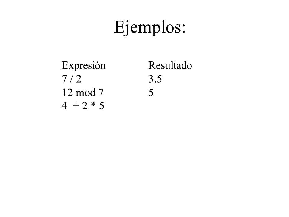 Ejemplos: Expresión Resultado 7 / 23.5 12 mod 75 4 + 2 * 5