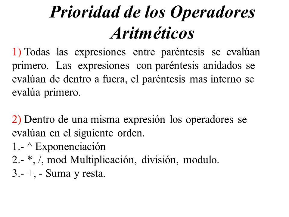 Prioridad de los Operadores Aritméticos 1) Todas las expresiones entre paréntesis se evalúan primero. Las expresiones con paréntesis anidados se evalú