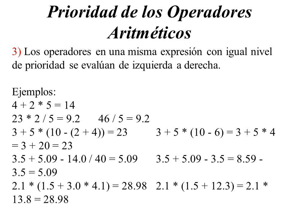 Prioridad de los Operadores Aritméticos 3) Los operadores en una misma expresión con igual nivel de prioridad se evalúan de izquierda a derecha. Ejemp
