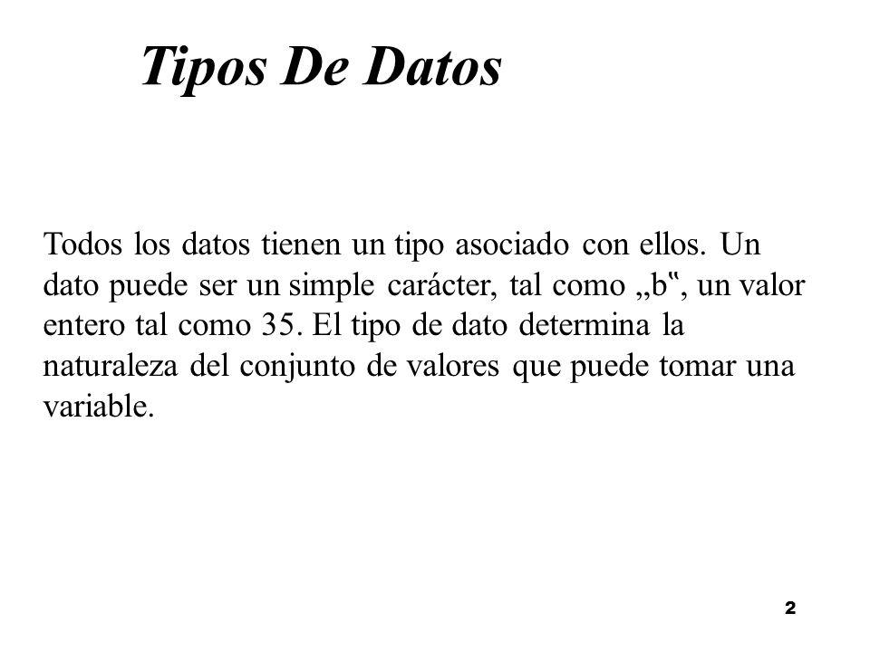 2 Tipos De Datos Todos los datos tienen un tipo asociado con ellos. Un dato puede ser un simple carácter, tal como b, un valor entero tal como 35. El